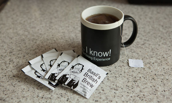 Chalkboard mug with teabags